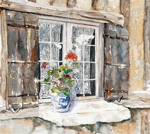 Mallorys Window - 15x22 - watercolor