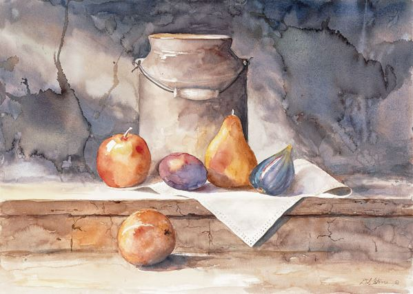 Milk Can with Fruit - 16x20 - watercolor