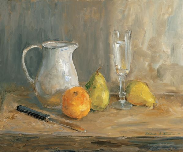 Orange and Pears - 20x24 - oil