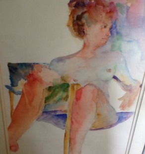 reclining nude watercolor