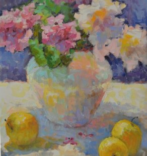 Other Artist - Colorful Flowers and Golden Apples