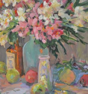 Other Artist - Colorful Flowers green apples and red apple